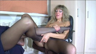 lesbian nylon foot sex - Lesbian nylon foot sex in the office