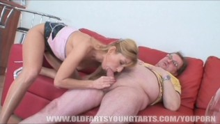 Blonde girl is getting fucked by an old man
