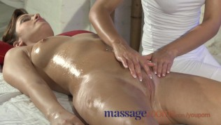 Massage Rooms Natural Big Tits Are Oiled And Massaged As Foreplay To A Fuck PornZek.Com