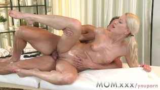 MOM Blonde MILF Gives her man a caress and tug