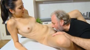 Dumb Teen Girl Lets Old Man Fuck Her Tight Shaved Pussy On The Kitchen Table PornZek.Com