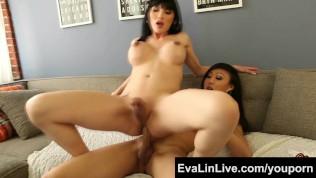 Sexy trannies Eva Lin and Venus Lux Asian Shemale FuckFest