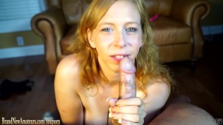Amateur Mom sucking cock on a casting couch