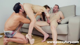 Jordanne Kali In A Hot Threesome With Double Blowjob And Deepthroat PornZek.Com