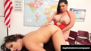 42F BBW, Angelina Castro & Gia Love Do School Girl Strapon!