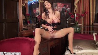 Beautiful brunette Milf Nina Leigh arrives to entertain you in her tan stockings sexy lingerie masturbating pussy on bed