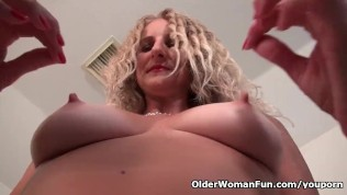image Euro gilf danja works her shaven cunt with her fingers