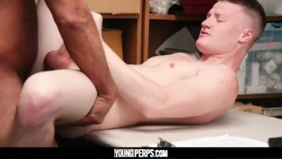 YoungPerps – Tall blonde straight boy barebacked by older horny security guard