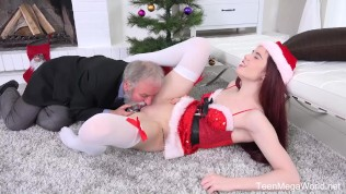 Old-n-Young.com - Lovenia Lux - Ginger elf finds a dildo under christmass tree