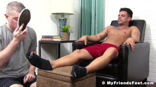 Adorable jock Christian toe sucked with total devotion