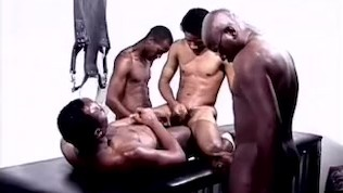 4some Black Guys End With Cumshots