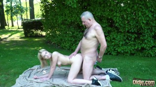 Grandpa gets to fuck a young tight virgin pussy and gets a blowjob