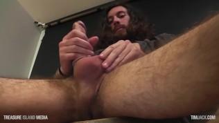 Porn Jesus strokes his giant cock