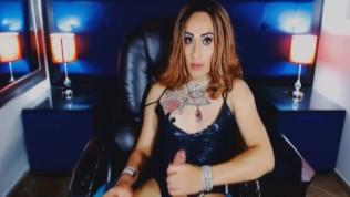 Hot Tranny Stroking her Massive Hard Dick