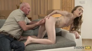 DADDY4K. Cute Teen Let Old Pervert Penetrate Her Tight Pussy On Sofa