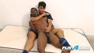 Flirt4Free Models Tairon and Alexandro - Ebony Stud in Army Garb Flexes While Latino Buddy Gives Him a Nice Reach Around Handjob