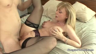 Sexy aunt Nina Hartley sucks everything out of my young cock!