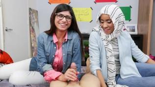 Mia Khalifa-Busty Arab Pornstar Trains Her Muslim Friend How To Suck Cock PornZek.Com
