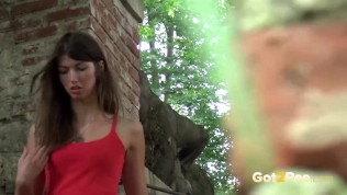 Susan Is Outdoors And Desperate To Pee PornZek.Com