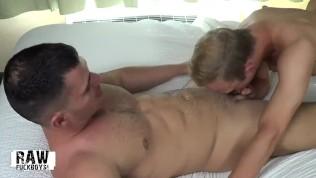 Muscle jock fuckboy grinding and sucking cock before bareback cum facial