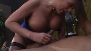 Latina MILF gets black cum in her hair