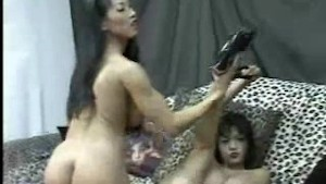 Mika Tan and Mimi Miyagi Do A Girl/Gril Striptease
