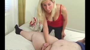 Cute blonde measuring small dick and handjob