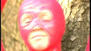 Red spandex Katherina in nature