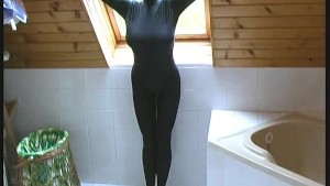 Blonde Kata Model in black catsuit