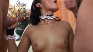 Young cleaning maid getting her first DP!