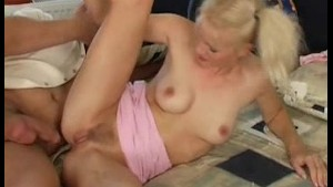 Hot blond taking cum in mouth(what's her name)
