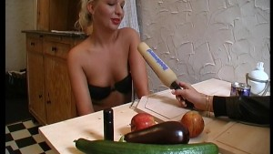 Blonde sure likes her fruits and veggies