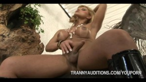 Tranny Going Solo With Dildo