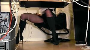 Under desk hidden cam masturbation