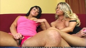 Blonde And Brunette Fuck Dildos