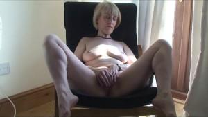 Stocking Milf Fucks Her Hairy Pussy