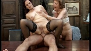Two grannies bang hung stud