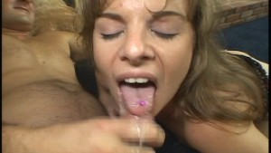 Rachael gets rained on with cum