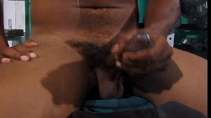Wacking the big black cock in the gym