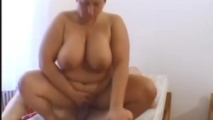 Big tits fatty fucking on top