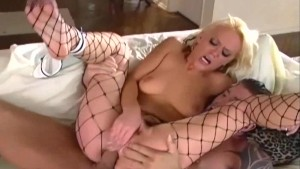 Blonde sex in fencenet pantyhose