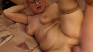 Granny fucked and a big facial cumshot