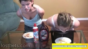 Eating cream from a hot chick