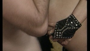 Leather clad couple copulates till they cum