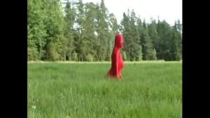 Redhead has spandex fun in nature