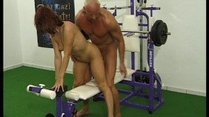 He lifts weights while she lifts his cock