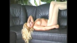 Blonde busty babe in nylon (clip)