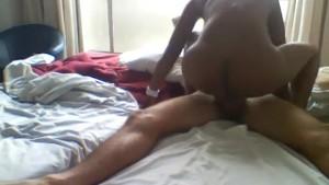 Filmed African slut Sandy fucks tourist in hotel