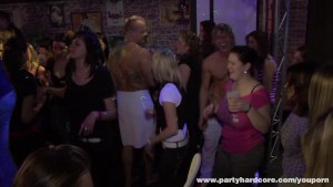 Young amateur girls having group sex in a club