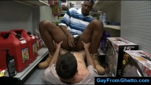 Black gay rides white dick in public